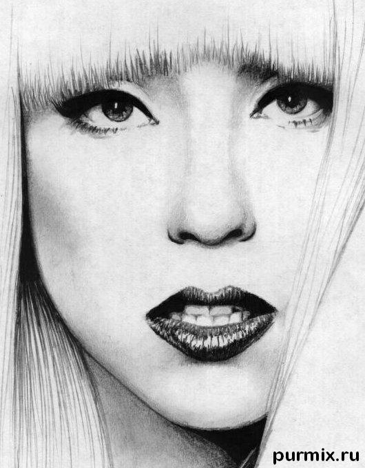 Рисуем портрет Леди Гага - шаг 7
