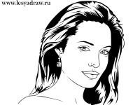 Как просто нарисовать портрет Анджелины Джоли карандашом