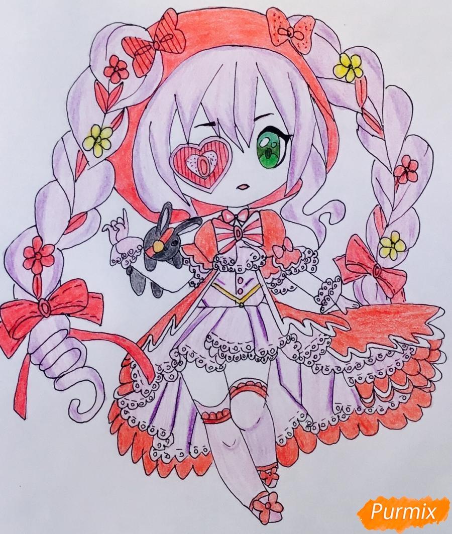 Чиби девочка в образе валентинки с игрушечным кроликом - шаг 13