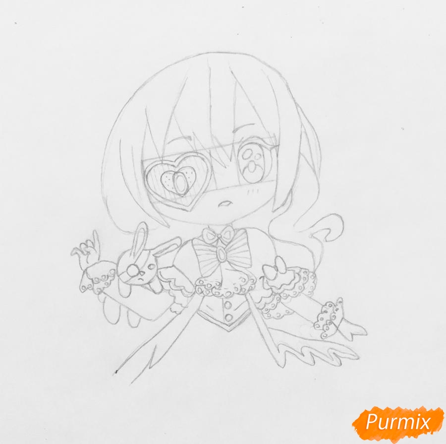 Чиби девочка в образе валентинки с игрушечным кроликом - шаг 4
