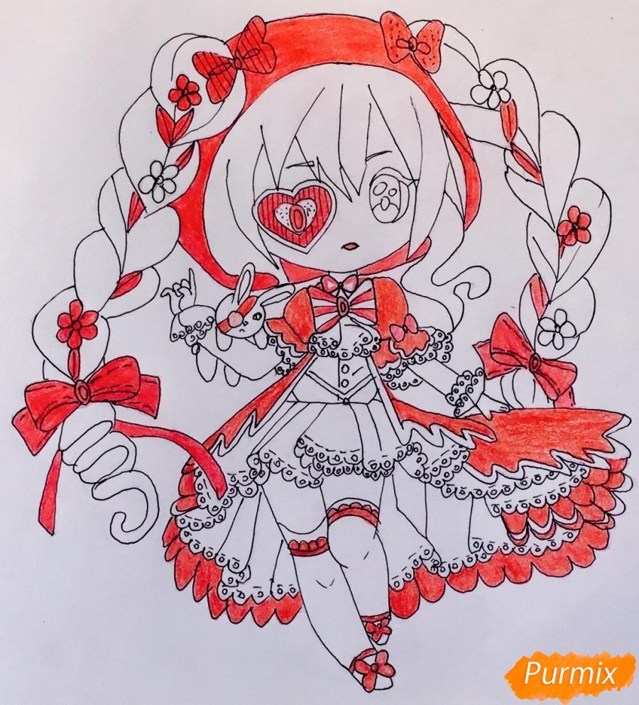 Чиби девочка в образе валентинки с игрушечным кроликом - шаг 9