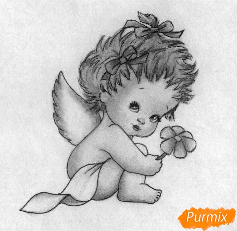 Как нарисовать ангелочка с цветком на День святого Валентина карандашами поэтапно