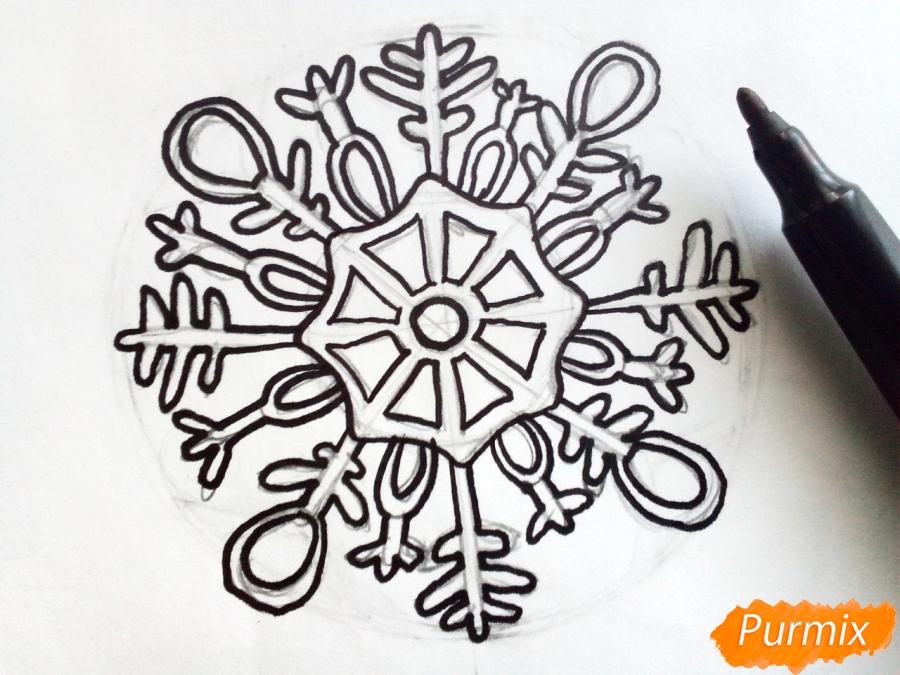 Рисуем большую снежинку - фото 5