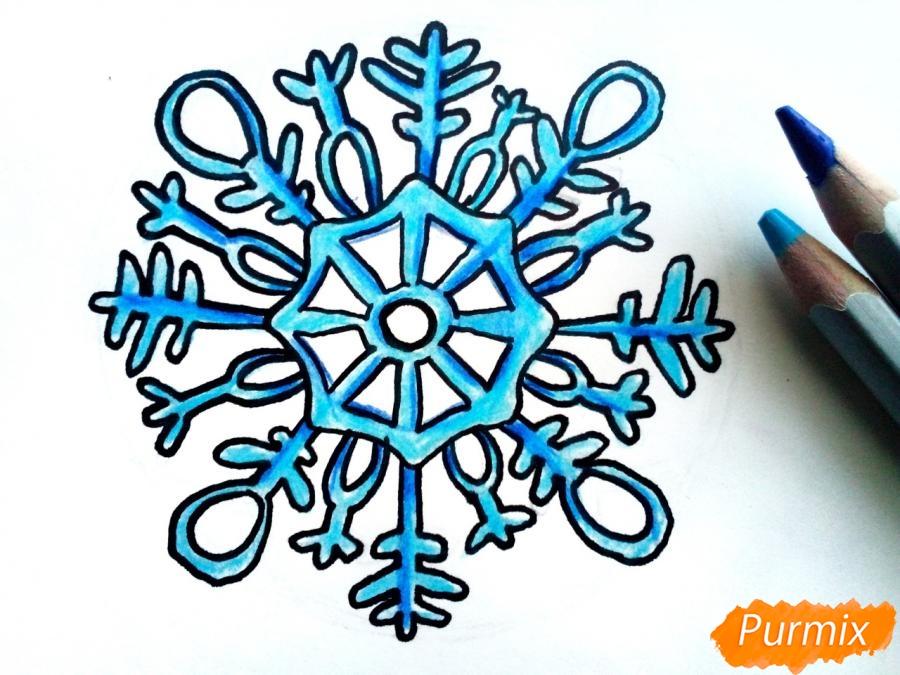 Рисуем большую снежинку - фото 6