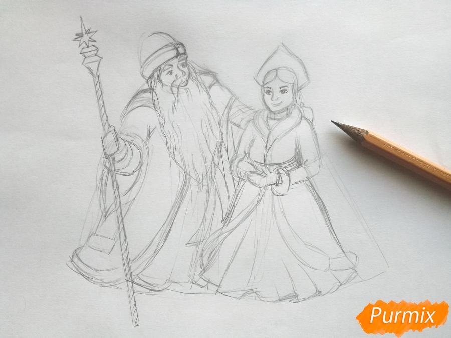 Рисуем Деда Мороза и Снегурочку карандашами - фото 4