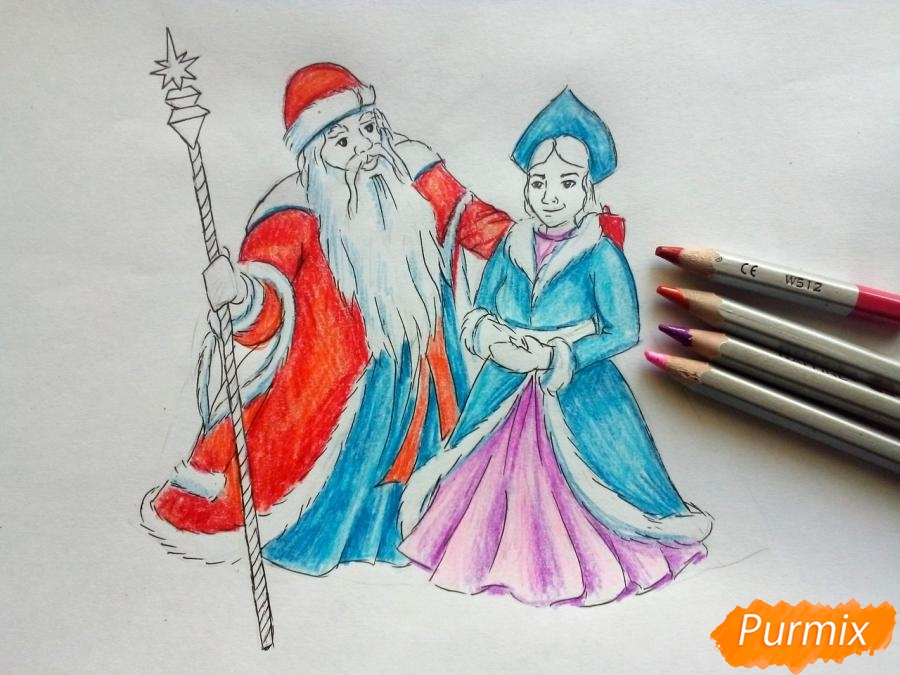 Рисуем Деда Мороза и Снегурочку карандашами - фото 7