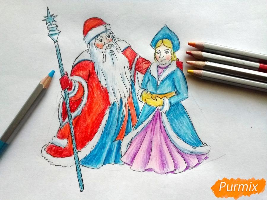 Рисуем Деда Мороза и Снегурочку карандашами - фото 8