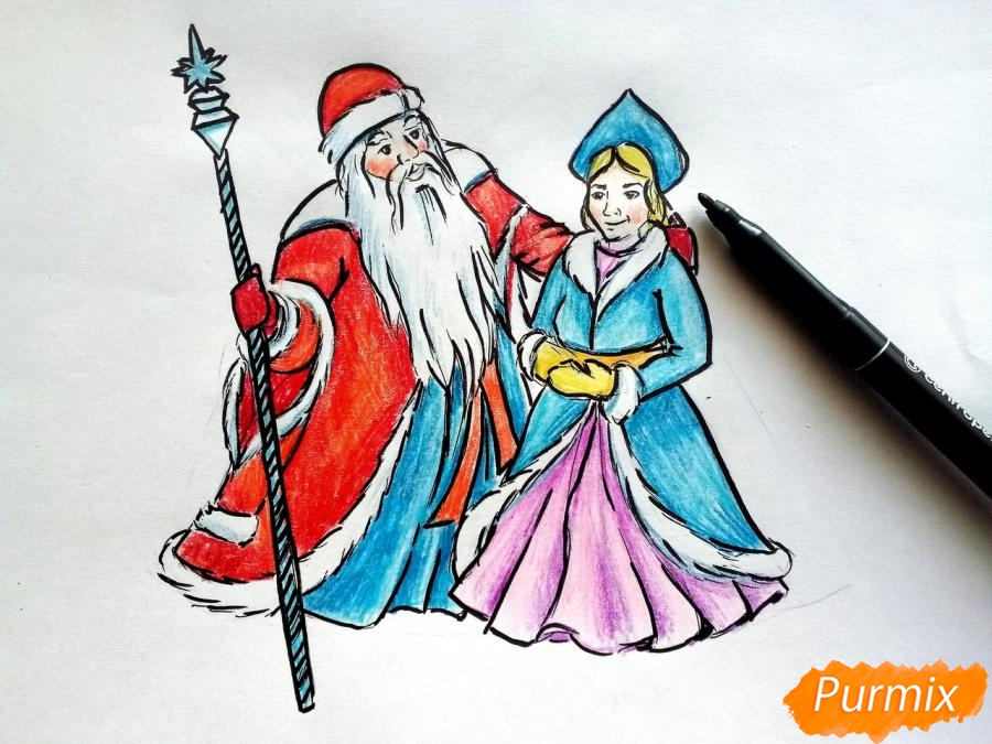 Рисуем Деда Мороза и Снегурочку карандашами - фото 9
