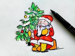 Рисунок Деда Мороза на Новый Год
