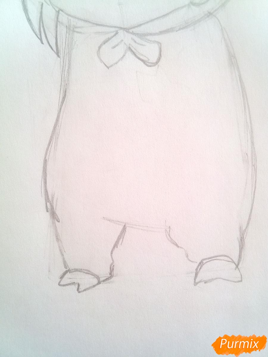 Рисуем девочку с гирляндой в костюме символа 2019 года-свиньи - шаг 5
