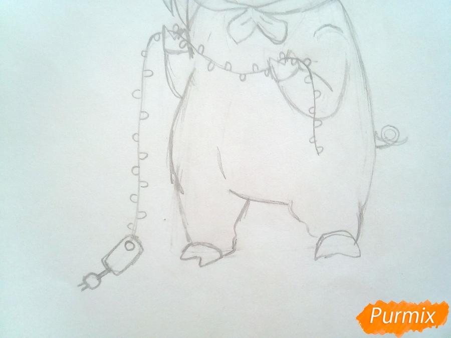 Рисуем девочку с гирляндой в костюме символа 2019 года-свиньи - шаг 7