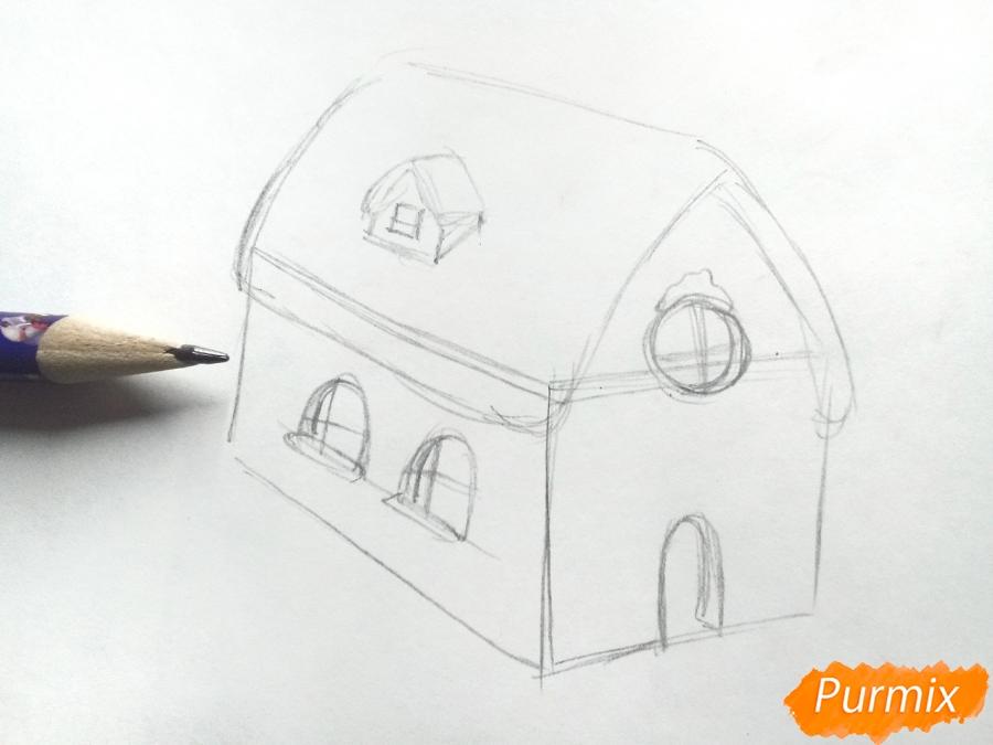 Рисуем дом Деда Мороза - шаг 2