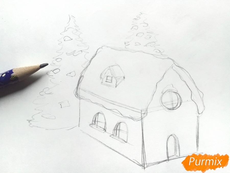 Рисуем дом Деда Мороза - шаг 3