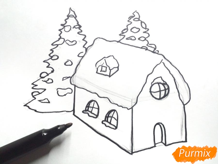 Рисуем дом Деда Мороза - фото 4