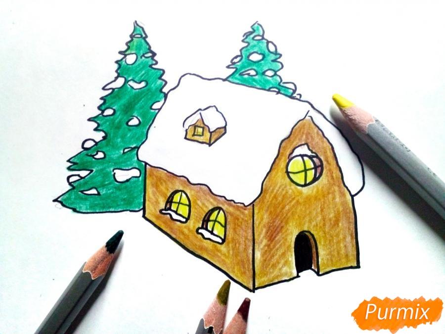 Рисуем дом Деда Мороза - шаг 5