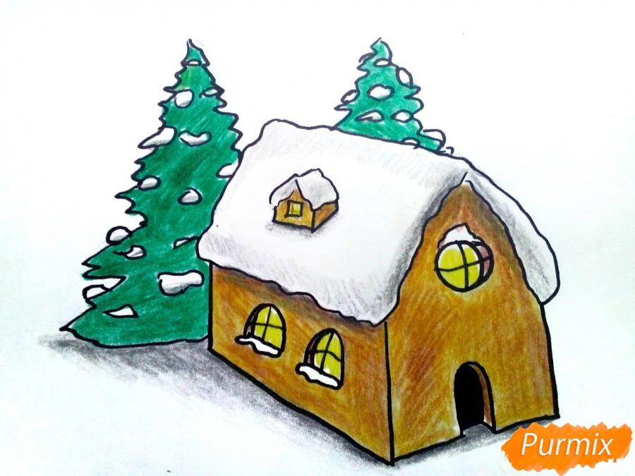 Как нарисовать дом Деда Мороза карандашом поэтапно