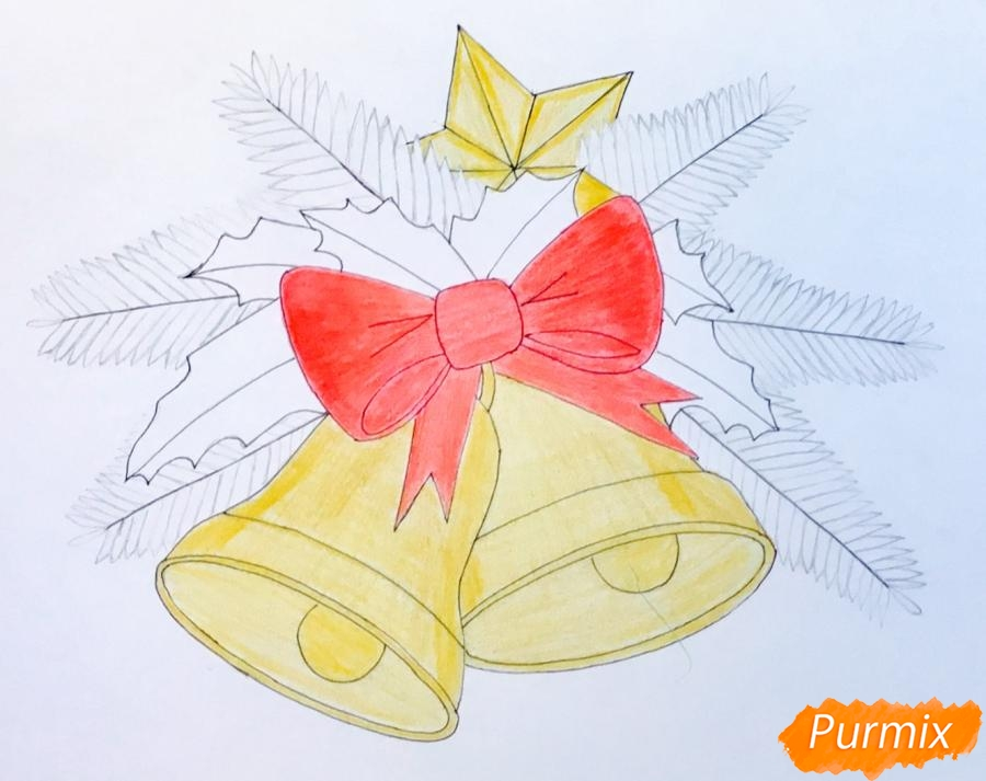Рисуем два новогодних колокольчика с бантиком и звёздочкой - фото 8