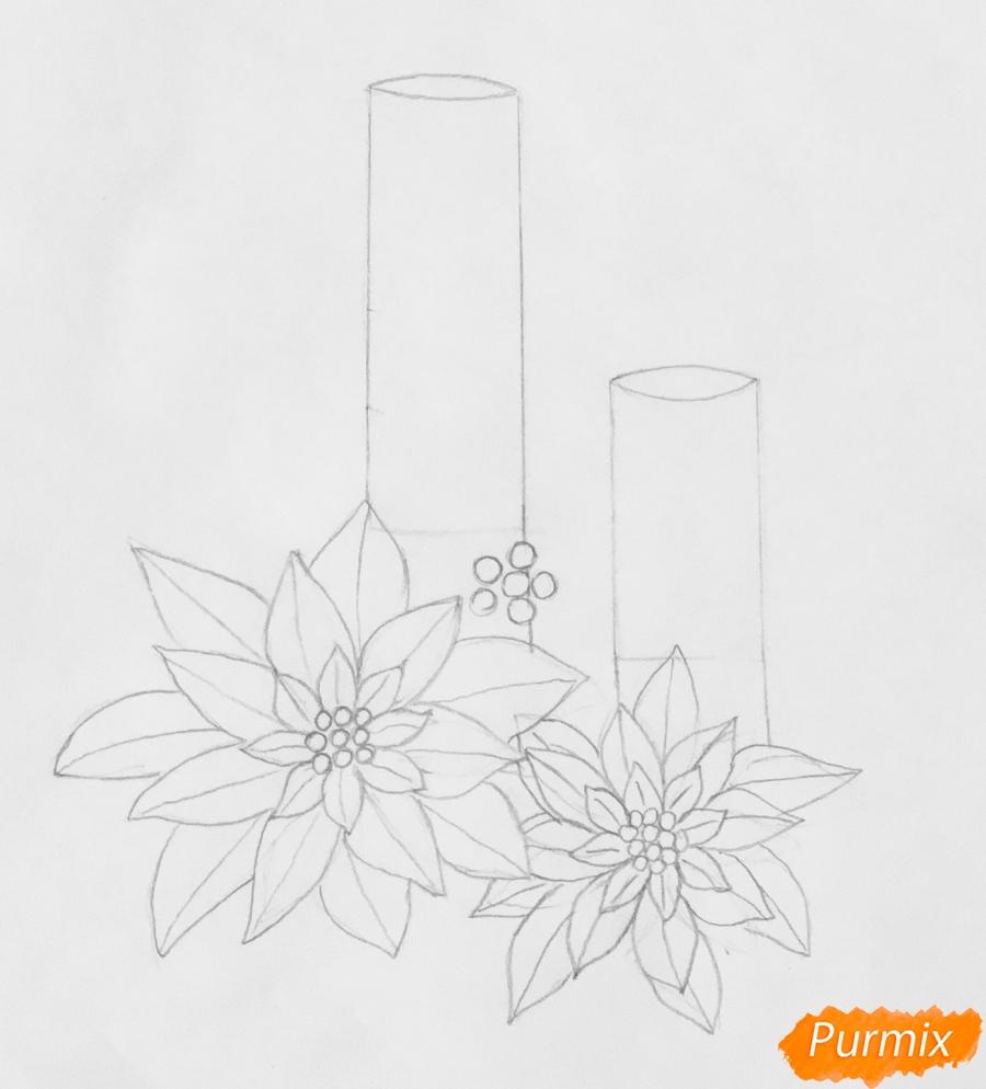Рисуем две красные новогодние свечи с красными цветочками и клюквой на листочках - фото 4