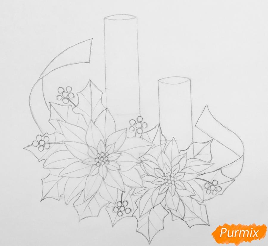 Рисуем две красные новогодние свечи с красными цветочками и клюквой на листочках - фото 5