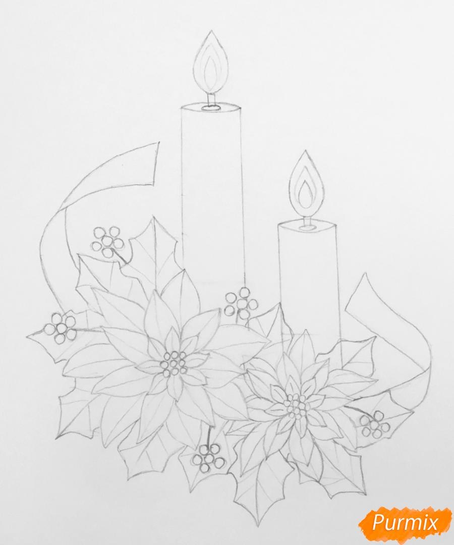 Рисуем две красные новогодние свечи с красными цветочками и клюквой на листочках - фото 6