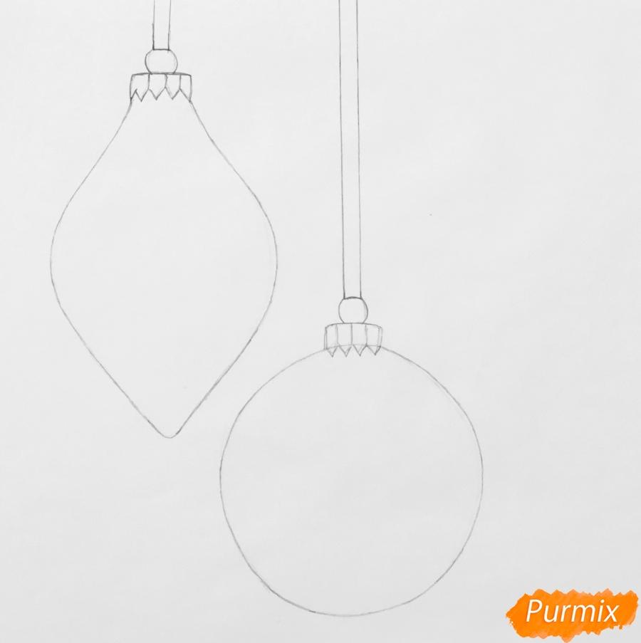 Рисуем две новогодние игрушки - шаг 3