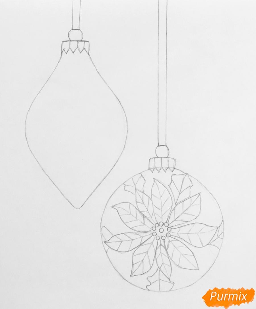 Рисуем две новогодние игрушки - шаг 4