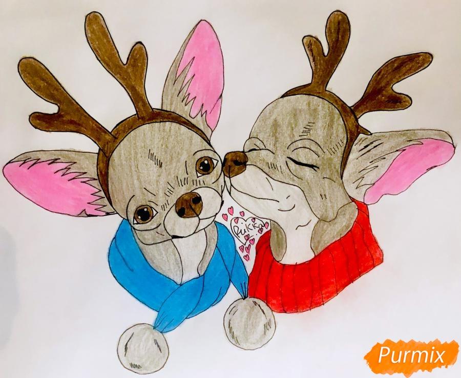 Рисуем двух новогодних собачек породы Русский Той Терьер - шаг 11