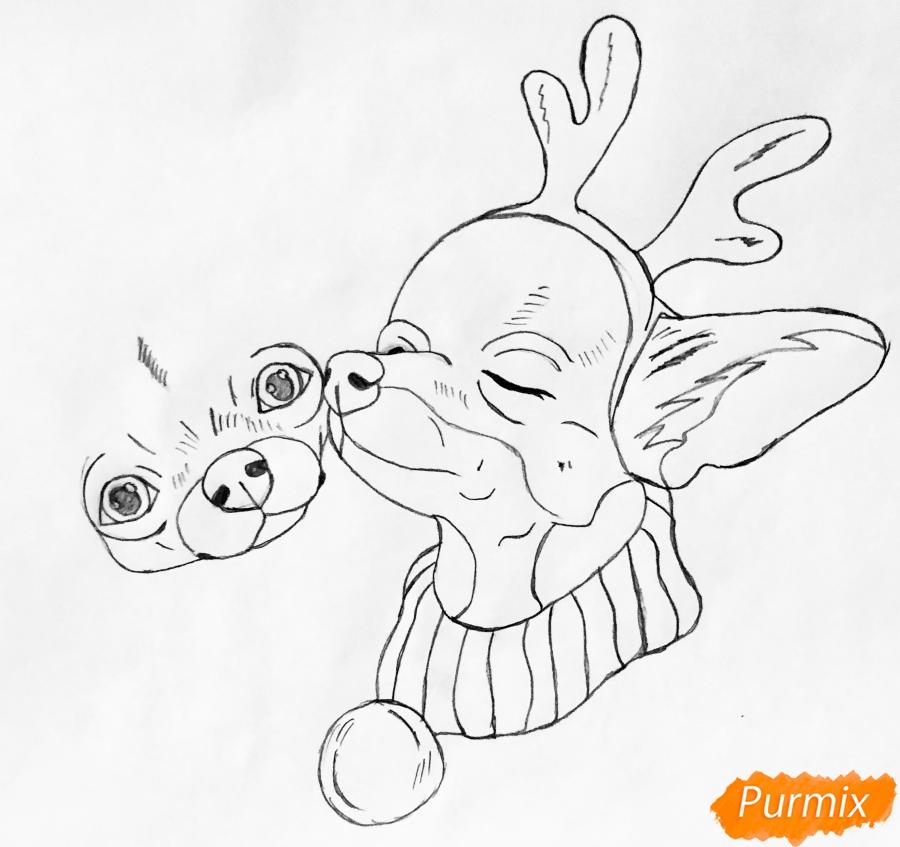 Рисуем двух новогодних собачек породы Русский Той Терьер - шаг 4