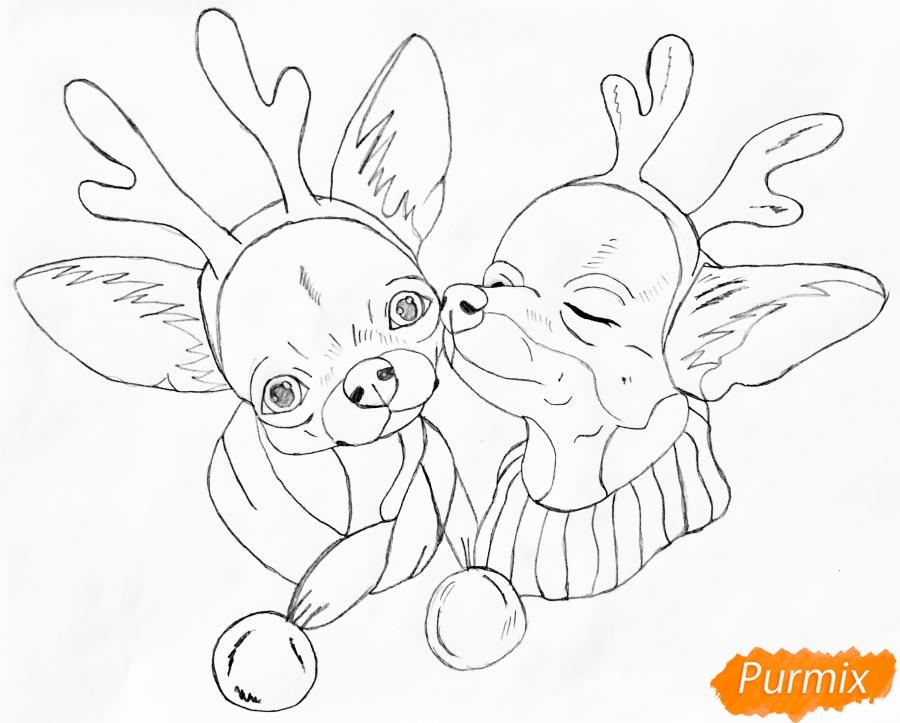 Рисуем двух новогодних собачек породы Русский Той Терьер - шаг 6
