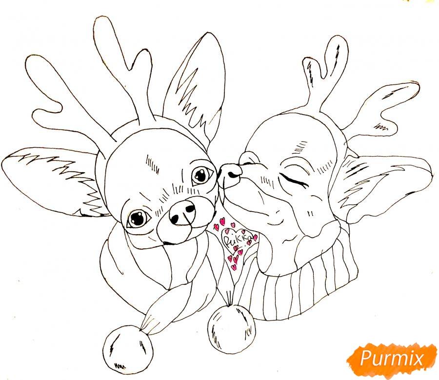 Рисуем двух новогодних собачек породы Русский Той Терьер - шаг 7