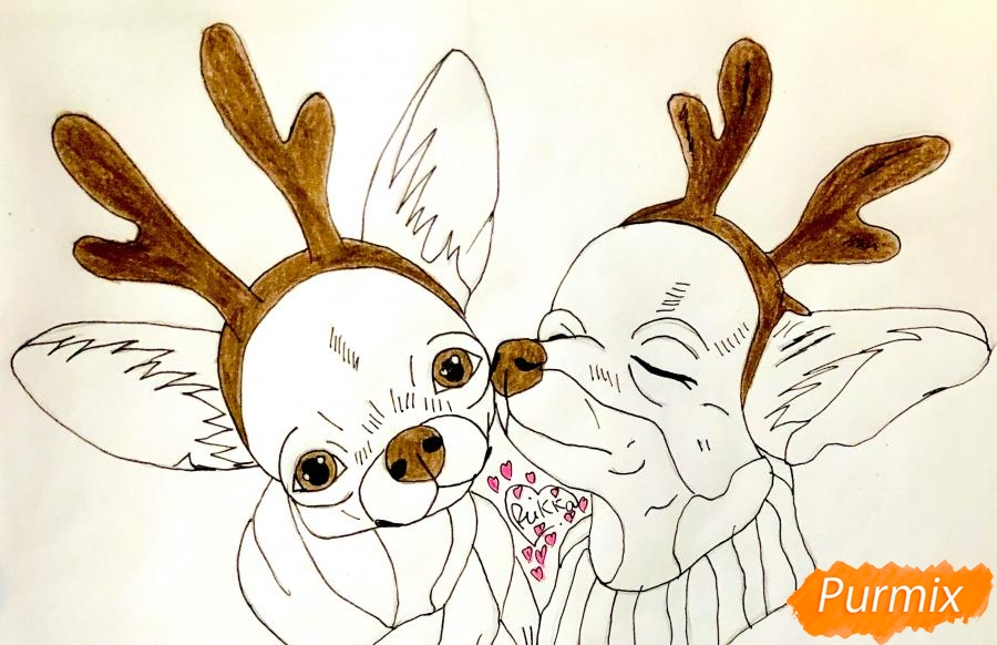 Рисуем двух новогодних собачек породы Русский Той Терьер - шаг 8