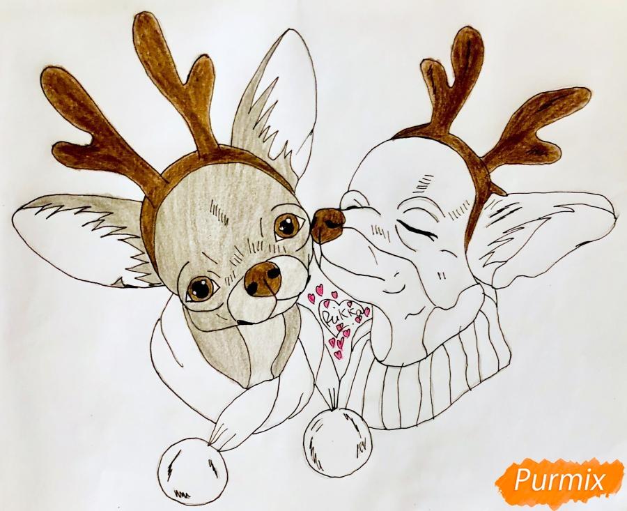 Рисуем двух новогодних собачек породы Русский Той Терьер - шаг 9