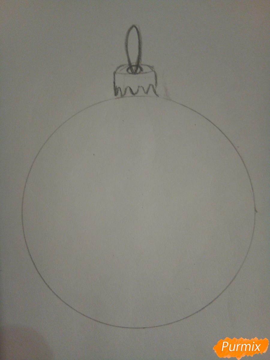 Рисуем ёлочную игрушку со снеговиком - шаг 2