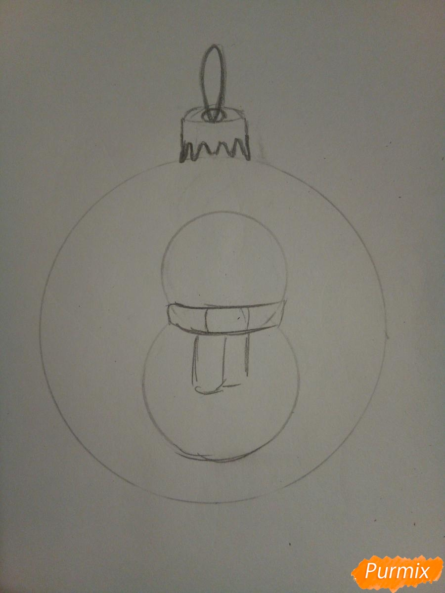 Рисуем ёлочную игрушку со снеговиком - шаг 3