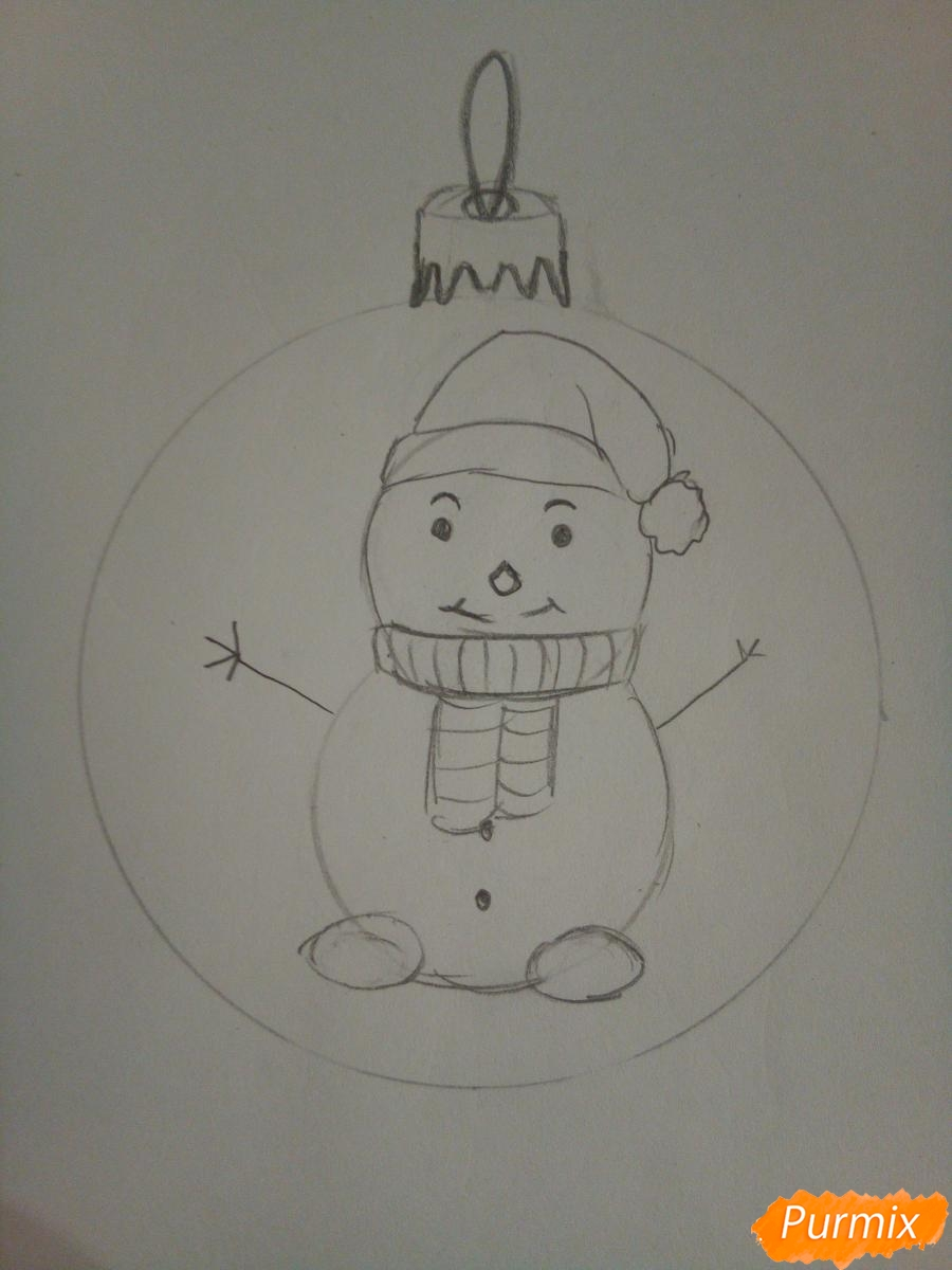 Рисуем ёлочную игрушку со снеговиком - шаг 4