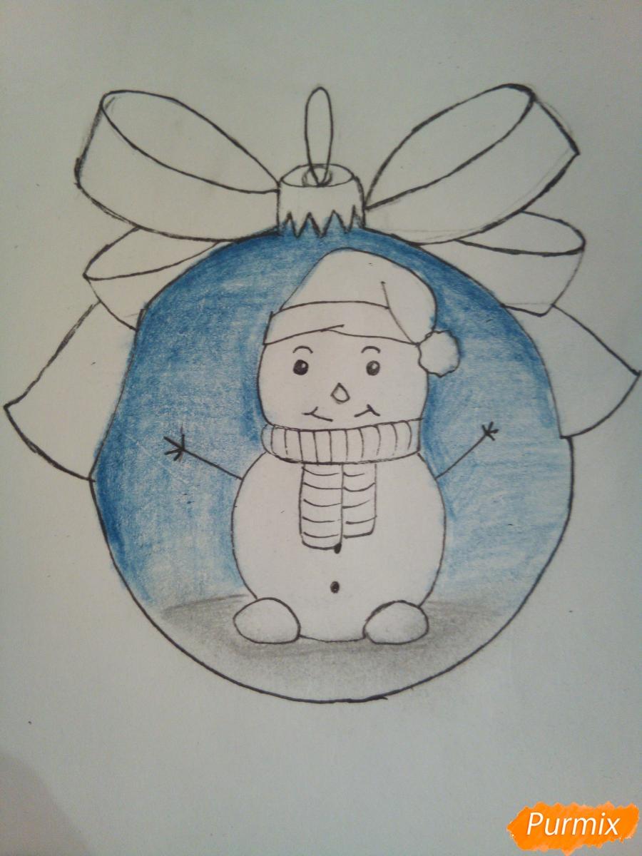 Рисуем ёлочную игрушку со снеговиком - фото 7