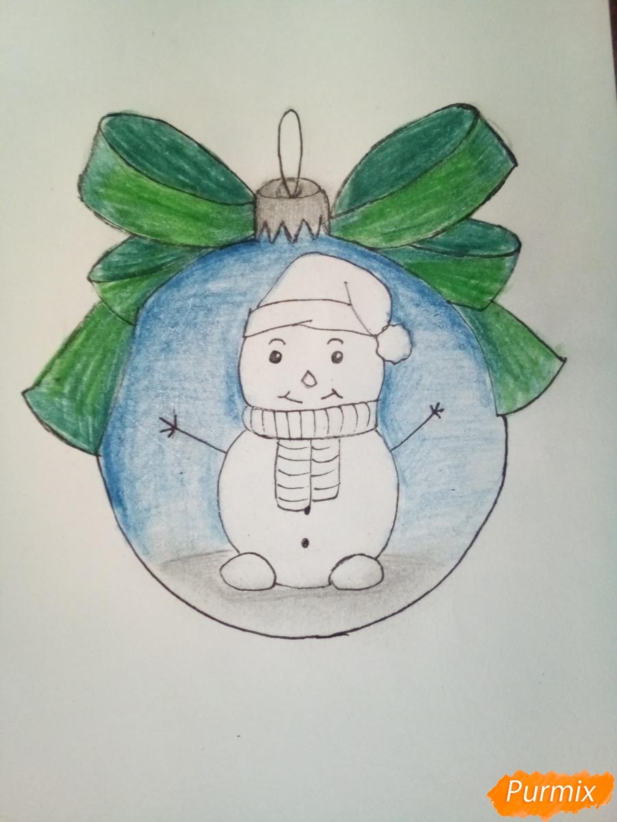 Рисуем ёлочную игрушку со снеговиком - шаг 8