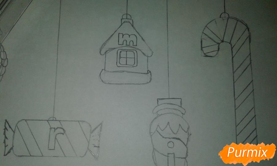 Рисуем ёлочные игрушки разных форм - шаг 16