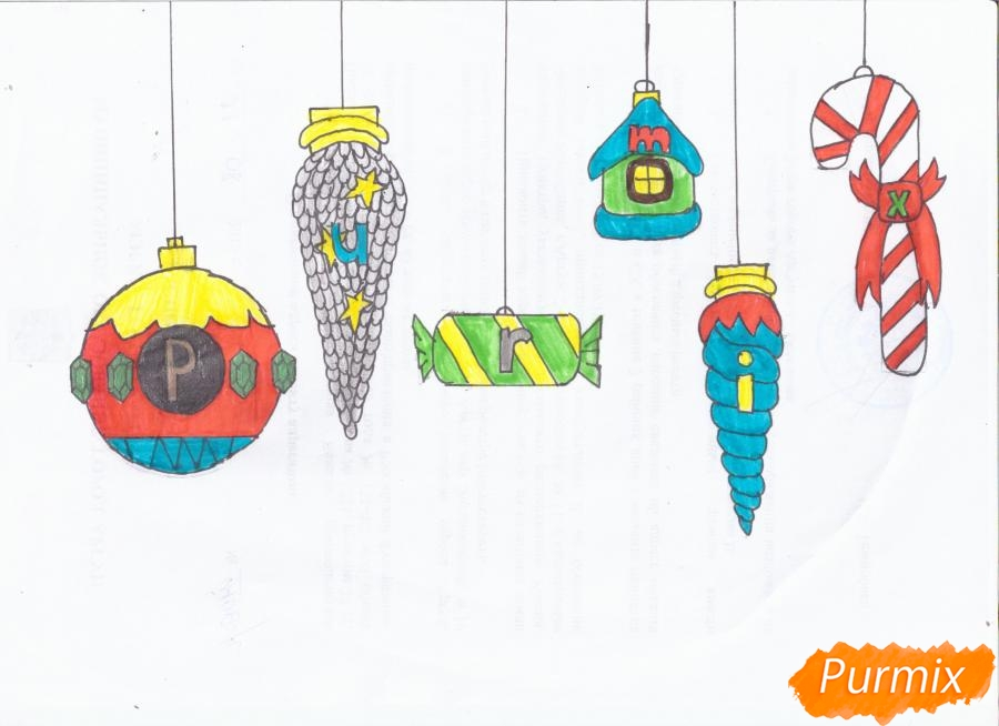 Рисуем ёлочные игрушки разных форм - фото 18