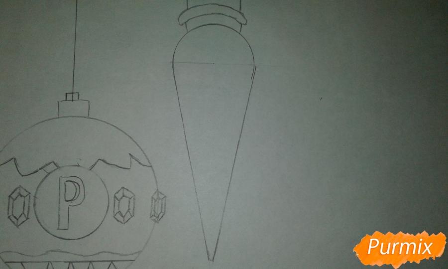 Рисуем ёлочные игрушки разных форм - шаг 5