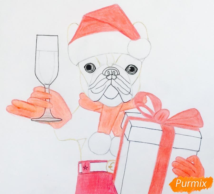 Рисуем французского бульдога с бокалом шампанского и подарком - шаг 7
