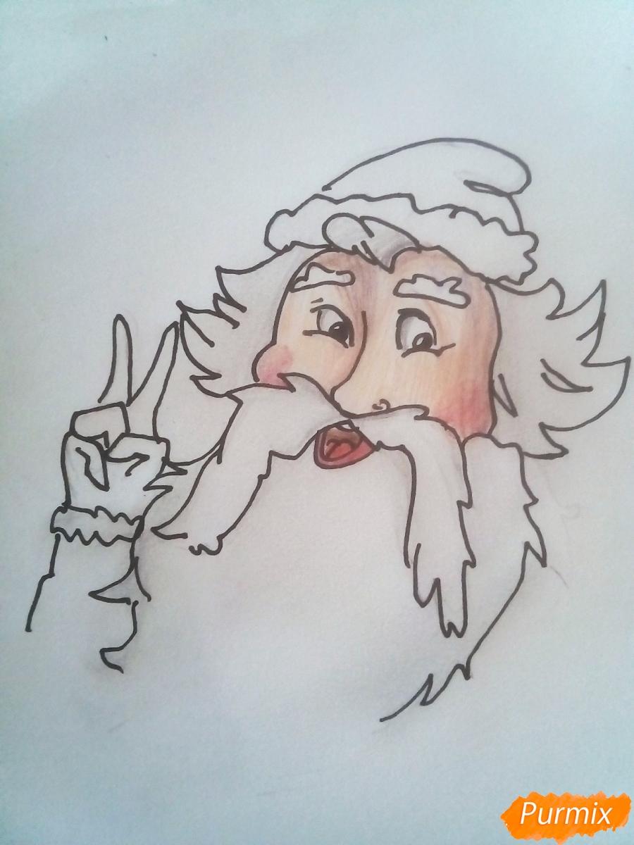 Рисуем голову Деда Мороза с пышной бородой на Новый Год - фото 8