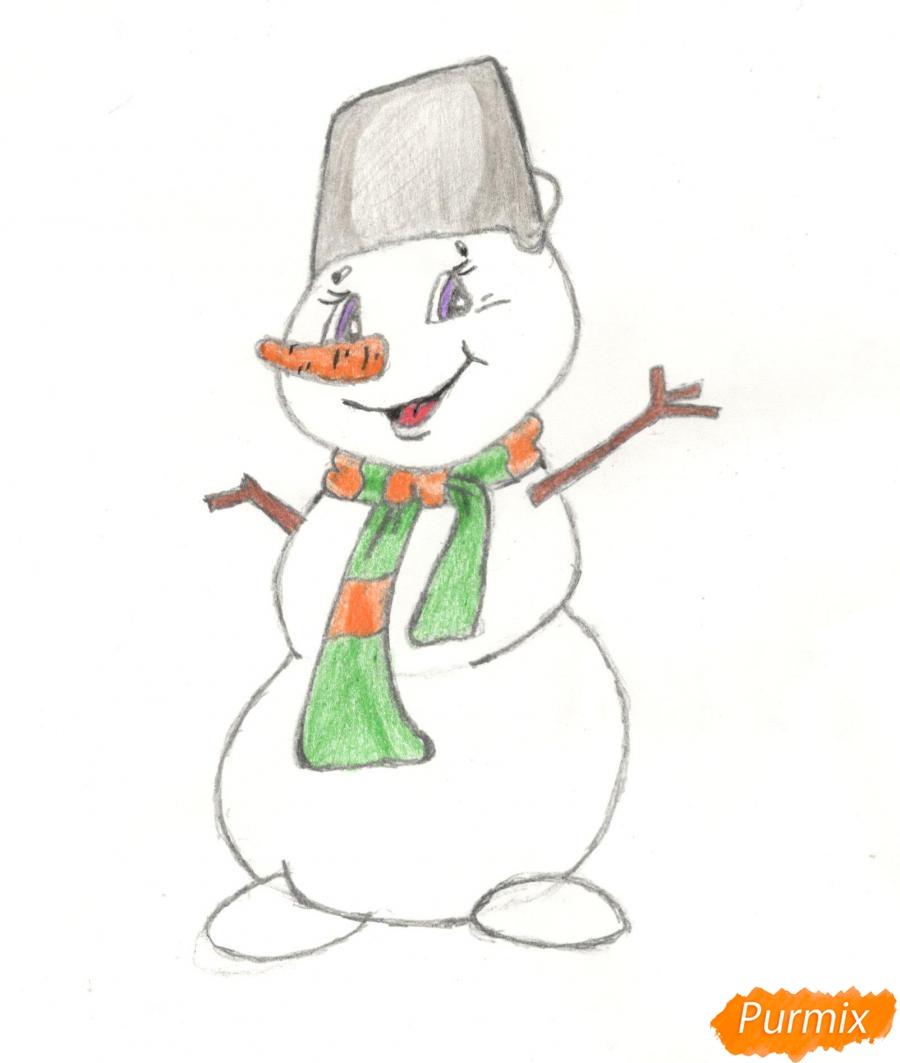 Рисуем и раскрасить новогоднего снеговика (подробный урок) - шаг 15