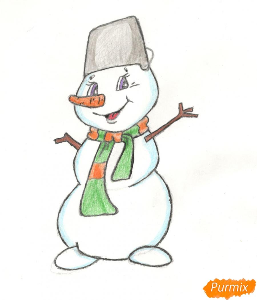 Рисуем и раскрасить новогоднего снеговика (подробный урок) - шаг 17