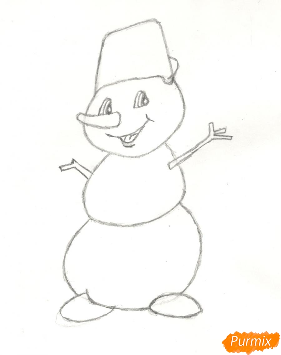 Рисуем и раскрасить новогоднего снеговика (подробный урок) - шаг 7