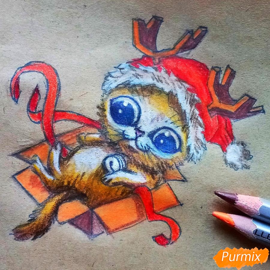 Рисуем котенка в новогоднем костюме цветными карандашами - шаг 12