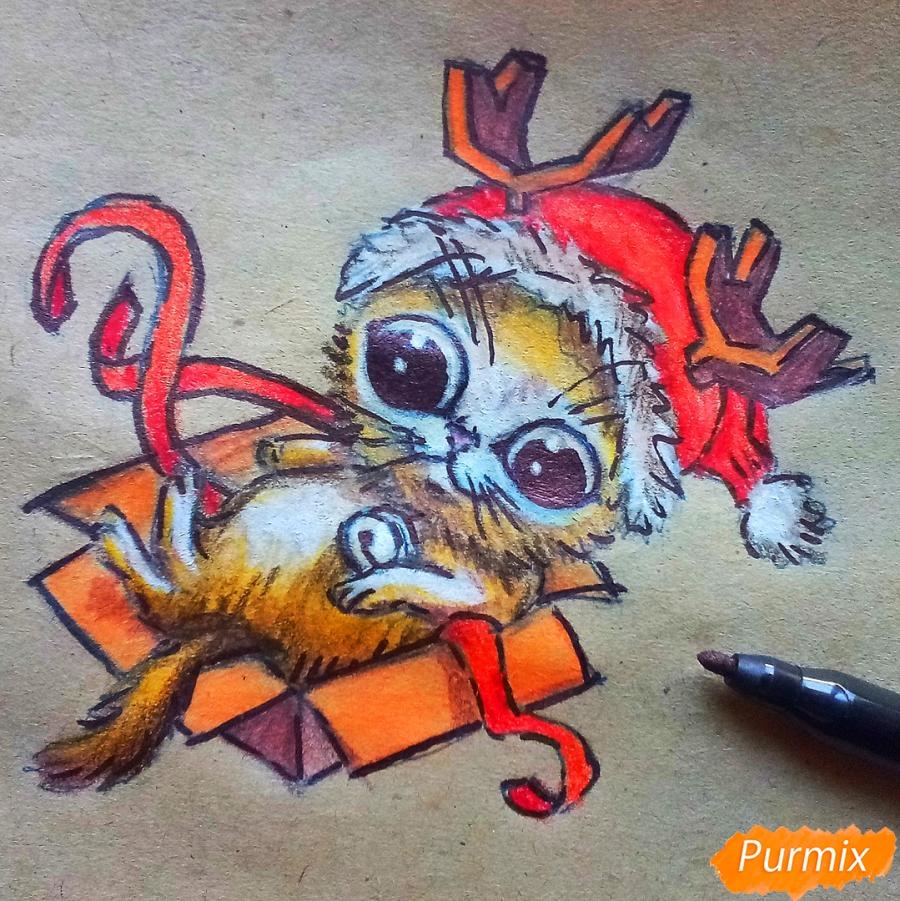 Рисуем котенка в новогоднем костюме цветными карандашами - шаг 13