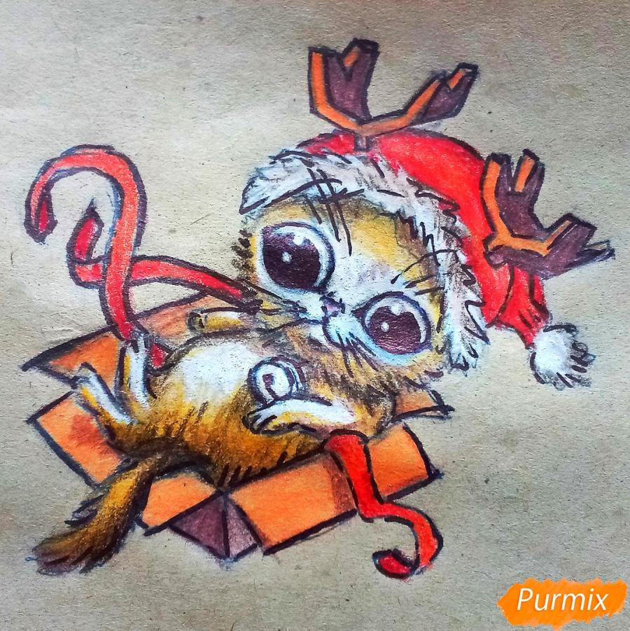 Как нарисовать котенка в новогоднем костюме цветными карандашами поэтапно