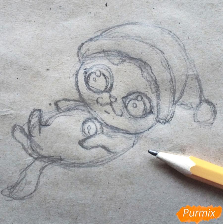 Рисуем котенка в новогоднем костюме цветными карандашами - шаг 4