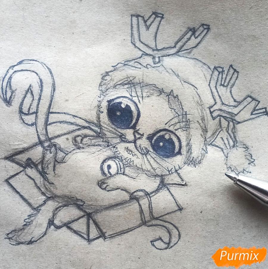 Рисуем котенка в новогоднем костюме цветными карандашами - шаг 7